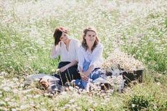 Dos mujeres bonitas jovenes que tienen comida campestre con té en campo de la manzanilla Fotos de archivo libres de regalías