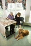 Dos mujeres con el perro Fotografía de archivo libre de regalías