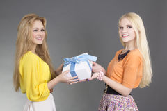 Dos mujeres con un rectángulo de regalo Imagen de archivo libre de regalías