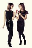 Dos mujeres de la moda de los jóvenes con copas de vino rojas Imagen de archivo