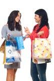 Dos mujeres de los amigos que tienen conversación Imágenes de archivo libres de regalías