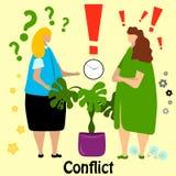 Dos mujeres de negocios lindas, oficinista, pelea del encargado y jurar ilustración del vector