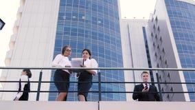 Dos mujeres de negocios que discuten los gráficos antes de una reunión importante y de un hombre de negocios que hablan en el tel almacen de metraje de vídeo