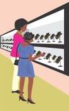 Dos mujeres en almacén de joyería stock de ilustración
