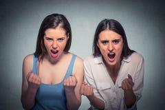 Dos mujeres enojadas hermosas que gritan Foto de archivo libre de regalías