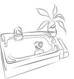 Dos mujeres hermosas en piscina ilustración del vector