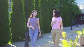 Dos mujeres hermosas jovenes positivas que caminan abajo de la calle en un día soleado y comunicar por lenguaje de signos almacen de metraje de vídeo