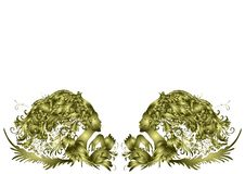Dos mujeres hermosas, pelo - flores, diseño de oro, invitación en un fondo blanco ilustración del vector