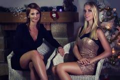 Dos mujeres hermosas que se sientan delante de una chimenea Imagen de archivo libre de regalías