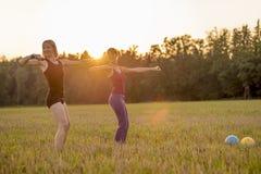 Dos mujeres jovenes aptas que se resuelven con las pesas de gimnasia que se colocan en el m foto de archivo libre de regalías