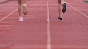 Dos mujeres jovenes de los deportes que corren a lo largo de una pista de los deportes metrajes