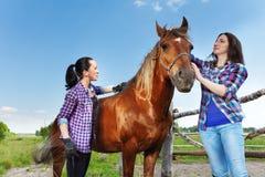 Dos mujeres jovenes que cepillan el caballo de bahía en la granja Foto de archivo libre de regalías
