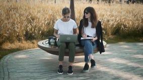 Dos mujeres jovenes que hablan del trabajo o del estudio en parque del verano almacen de video