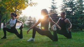 Dos mujeres jovenes que hacen asanas de la yoga con el instructor en el parque en la luz del sol - una mujer tiene dreadlocks azu metrajes