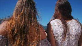 Dos mujeres jovenes que se colocan en el vino tinto de consumición del balcón - disfrutar de la vista de montañas y del bosque almacen de metraje de vídeo