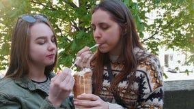 Dos mujeres jovenes que se sientan en el parque y que comen el helado checo con una cuchara pl?stica metrajes