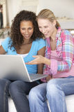 Dos mujeres jovenes que usan el ordenador portátil en el país Fotografía de archivo libre de regalías