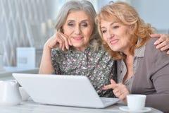 Dos mujeres mayores que usan el ordenador portátil Fotos de archivo libres de regalías