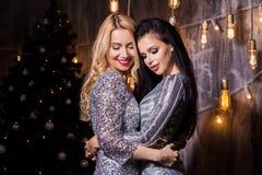 Dos mujeres morenas y rubias hermosas en los vestidos brillantes de plata para el árbol de navidad y las luces Días de fiesta, Añ fotografía de archivo libre de regalías