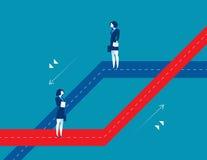 Dos mujeres que colocan diversas trayectorias del negocio Negocio del concepto stock de ilustración