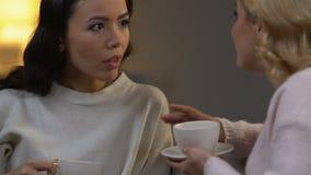 Dos mujeres que cotillean, té de consumición y sentándose en la atmósfera acogedora, relaciones almacen de video