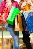 Dos mujeres que hacen compras con los bolsos en alameda Fotografía de archivo libre de regalías