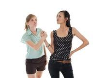Dos mujeres que intentan hacer las paces Foto de archivo