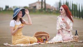 Dos mujeres que tienen una comida campestre y que hablan - Toscana almacen de metraje de vídeo