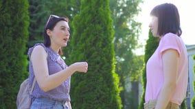 Dos mujeres sordomudas jovenes comunican usando lenguaje de signos en el cierre del parque para arriba almacen de metraje de vídeo