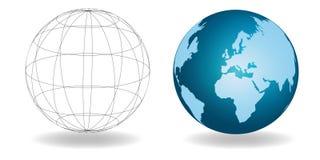Dos mundos globales Imágenes de archivo libres de regalías