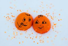 Dos naranjas enamoradas dulces fotos de archivo libres de regalías