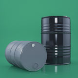 Dos negros y el metal gris barrels en fondo del color verde Front View Imagen de archivo