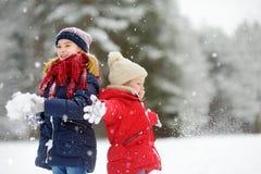 Dos niñas adorables que se divierten junto en parque hermoso del invierno Hermanas hermosas que juegan en una nieve foto de archivo libre de regalías