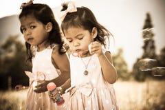 Dos niñas lindas que tienen burbujas que soplan de la diversión en el parque Fotografía de archivo
