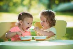 Dos niñas que se sientan en una tabla y que comen junto contra césped verde Fotografía de archivo