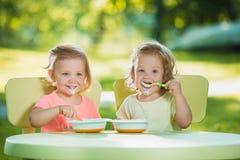 Dos niñas que se sientan en una tabla y que comen junto contra césped verde Fotos de archivo