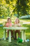 Dos niñas que se sientan en una tabla y que comen junto contra césped verde Imagen de archivo libre de regalías