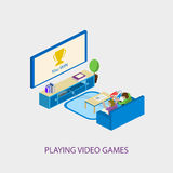 Dos niños de la escuela que juegan a los videojuegos juntos Illusytration del vector Imagenes de archivo