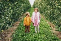Dos niños divertidos que juegan junto afuera Foto de archivo libre de regalías