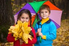 Dos niños en bosque del otoño imagen de archivo