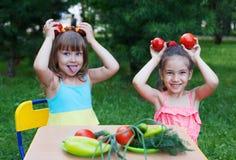 Dos niños felices de los niños de las muchachas que llevan sostenerse hermoso de los vestidos fotografía de archivo