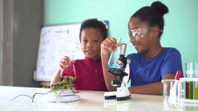 Dos niños mezclados afroamericanos que prueban el experimento del laboratorio de química almacen de video
