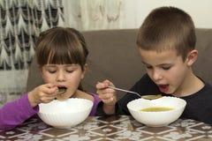 Dos niños muchacho y muchacha que comen la sopa con la cuchara de los wi de una placa Imagen de archivo