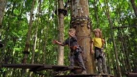 Dos niños pequeños en una subida del arnés de seguridad en una ruta en un parque de la aventura del bosque Suben en alto rastro d almacen de video