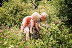 Dos niños pequeños Expliring en el prado de la flor por el bosque Fotos de archivo libres de regalías