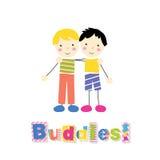 Dos niños pequeños que sostienen los brazos alrededor de uno a con tipografía de los compinches Fotos de archivo