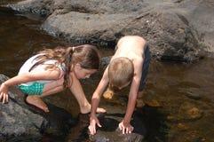 Dos niños que exploran la naturaleza en el arroyo Imágenes de archivo libres de regalías