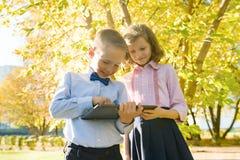 Dos niños que miran la tableta digital, parque soleado del otoño del fondo fotos de archivo libres de regalías