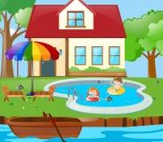 Dos niños que se divierten en la piscina libre illustration
