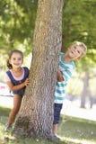 Dos niños que ocultan detrás de árbol en parque Fotografía de archivo